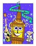 Cartoon Big Ben on New Year's Eve. Cartoon caricature Big Ben celebrating New Year's Eve with champagne on blue background Stock Image