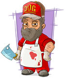 Cartoon big butcher in apron with backsword Royalty Free Stock Photography