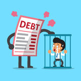 Cartoon big debt letter with businessman in prison. For design Stock Photo