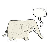 Cartoon big elephant with speech bubble Stock Images