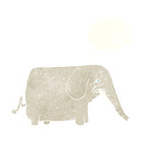 Cartoon big elephant with thought bubble Royalty Free Stock Photos