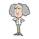 Cartoon big hair lecturer man Royalty Free Stock Image