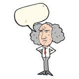 Cartoon big hair lecturer man with speech bubble Stock Photo