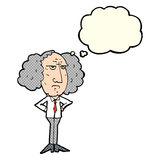 Cartoon big hair lecturer man with thought bubble Stock Image