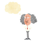 Cartoon big hair lecturer man with thought bubble Royalty Free Stock Photos