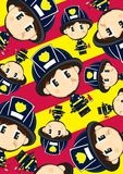 Cartoon Big Head Fireman Pattern. Adorably Cute Cartoon Big Head Firefighter Boy with Axe Pattern - Vector Illustration by Mark Murphy Creative Royalty Free Stock Photography
