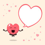 Cartoon a big heart character with speech bubble Royalty Free Stock Photo