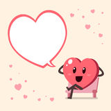 Cartoon big heart character with speech bubble Royalty Free Stock Images