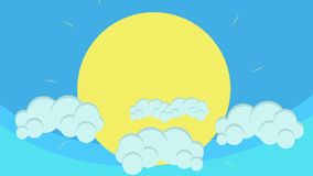 Cartoon Big Sun Behind Puffy Clouds Hovering in Blue Sky