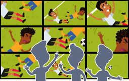 Cartoon big TV screens showing video replay of tackle on football field with silhouettes of referees watching Stock Photo