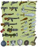 Cartoon big weapons and explosive game icons set. Cartoon big weapons and explosive vector game icons set. Firearms and steel weapon. Guns and swords. Dynamite Stock Photography