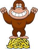 Cartoon Bigfoot Bananas Royalty Free Stock Photography
