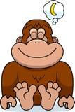 Cartoon Bigfoot Dreaming. A cartoon illustration of a bigfoot dreaming of a banana Royalty Free Stock Image