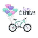 Cartoon bike with balloons Royalty Free Stock Images