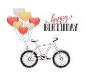 Cartoon bike with balloons Royalty Free Stock Photography