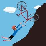 Cartoon biker falls on slope Stock Photo