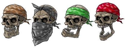 Free Cartoon Biker Skulls With Bandana And Scarf Royalty Free Stock Images - 155806349