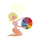 Cartoon bikini girl with beach ball with speech bubble Royalty Free Stock Images