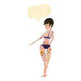 Cartoon bikini girl covered in tattoos with speech bubble Royalty Free Stock Image