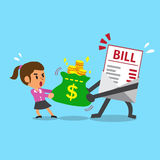 Cartoon bill payment character and businesswoman do tug of war with money bag Royalty Free Stock Photos