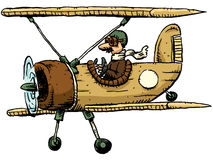Cartoon Biplane. A cartoon pilot flying a biplane Stock Photography
