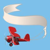 Cartoon Biplane with banner Royalty Free Stock Photo