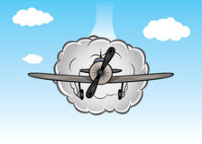 Cartoon biplane on the sky with clouds Royalty Free Stock Image