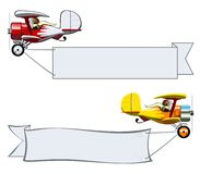 Cartoon Biplane. Vector Cartoon Biplane with banner. Available EPS-10 vector format separated by groups and layers for easy edit Stock Photos