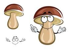 Cartoon birch mushroom with brown hat Stock Photo