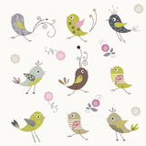 Cartoon bird background design Stock Photos