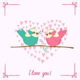 Cartoon bird on branch. Invitation card for wedding.Cartoon bird on branch Royalty Free Stock Photography
