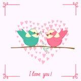 Cartoon bird on branch Royalty Free Stock Photography
