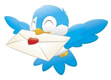 Cartoon Bird Carrying Love Letter. Cartoon vector illustration of a blue bird delivering love letter Royalty Free Stock Photos