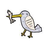Cartoon bird catching fish Stock Photos