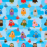 Cartoon bird color symmetry cloud seamless pattern. This illustration is drawing colors bird symmetry with cloud on blue sky color seamless pattern Stock Photography