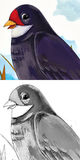 Cartoon bird - cuckoo - caricature - coloring page Stock Photo