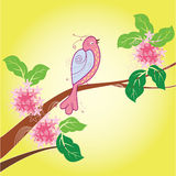 Cartoon bird and flower Stock Images