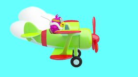 Cartoon bird flying in the clouds on a plane 3D animation. stock video footage