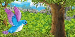 Cartoon bird flying in the forest stock illustration