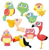 Cartoon bird icon set. Drawing Stock Images