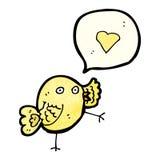 cartoon bird with love heart speech bubble Stock Photography