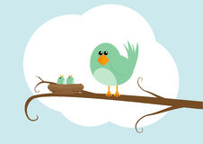 Cartoon bird with nest. Cartoon illustration of bird with nest and chicks on branch, cloud in background Royalty Free Stock Photo
