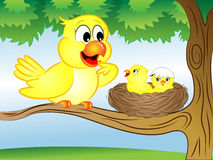 Cartoon Bird with Nest. Vector Illustration of a Cartoon Yellow Mother Bird with Nest and Babies vector illustration