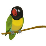 The cartoon bird - parrot - illustration for the children Stock Photos