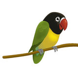 The cartoon bird - parrot - illustration for the children Royalty Free Stock Image