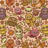 Cartoon bird pattern with owls. Stock Images