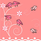 Cartoon bird and plant card. illustration. Royalty Free Stock Photos