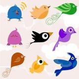 Cartoon bird set stock illustration