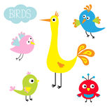 Cartoon bird set. Cute cartoon character. Funny collection for kids. Flat design. Baby illustration. Vector illustration Stock Photography