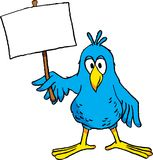 Cartoon Bird with Sign. Image of a cute cartoon bird holding a blank sign Royalty Free Stock Photo